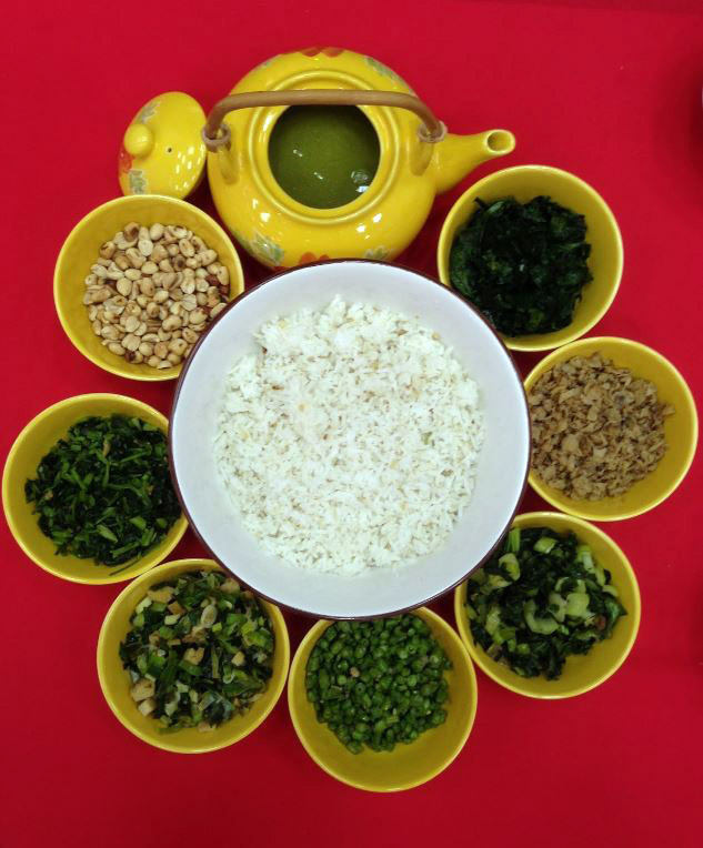 Hopo Lui Cha consists of 9 ingredients, including tea soup, 5 types of vegetables, tofu, peanuts and rice